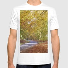 Remote country road through Autumnal woodland. Norfolk, UK. SMALL Mens Fitted Tee White