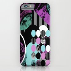 Bits N Pieces II - Abstract, geometric, textured, stripes, cyan, blue, pink, black, artwork iPhone 6 Slim Case