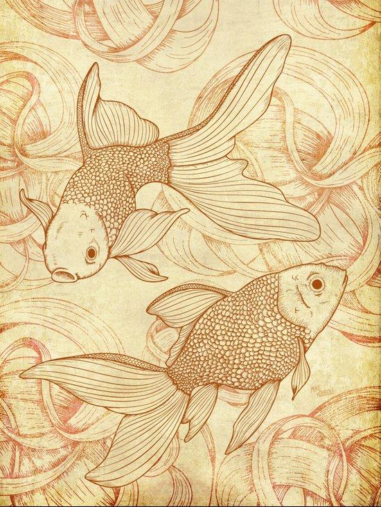 Vintage Goldfishes  Canvas Print