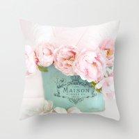 Shabby Chic Pink Paris Peonies  Throw Pillow