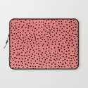 Black Dots on Coral Laptop Sleeve