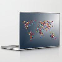 world map Laptop & iPad Skins featuring WORLD MAP  by mark ashkenazi