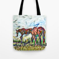 Abstract Horses In Paddo… Tote Bag