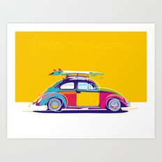 Beetle Pop Yellow Art Print