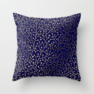 Gold Berry Branches On N… Throw Pillow