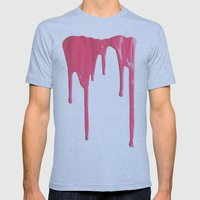 Pink Splatter Mens Fitted Tee Athletic Blue SMALL