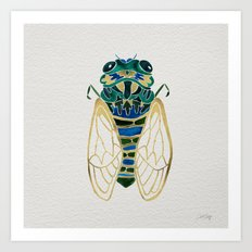 Green & Gold Cicada Art Print