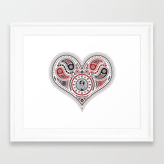 83 Drops - Hearts (Red & Black) Framed Art Print