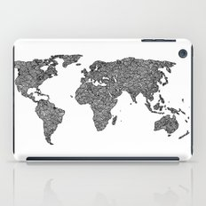 World Map Black and White Patterned  iPad Case