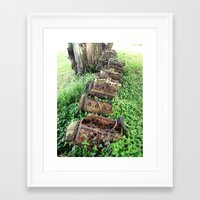 Framed Art Print featuring Engine Graveyard by Amy Taylor