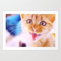 Angry Cat Art Print