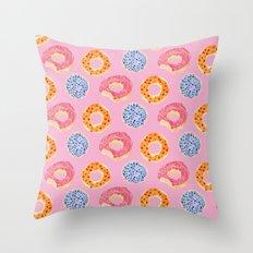 sweet things: doughnuts (pink) Throw Pillow