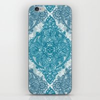 Teal & White Lace Pencil Doodle iPhone & iPod Skin