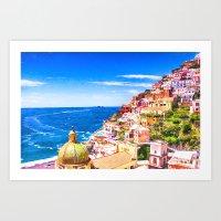 Colorful Positano Italy Art Print