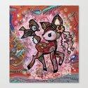 tie dye deer with bird friend and some butterflies Canvas Print
