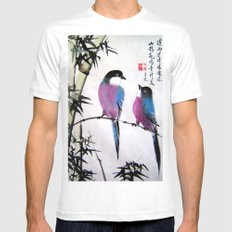 blue bird Mens Fitted Tee SMALL White
