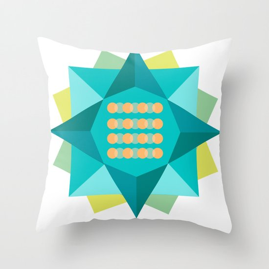 Abstract Lotus Flower - Yoga Print Throw Pillow