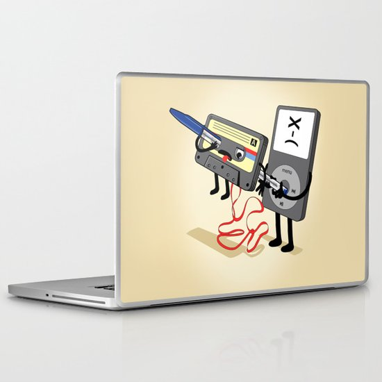 Killer Ipod Clipart (Murder of Retro Cassette Tape) Laptop & iPad Skin
