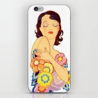 Retro Woman With Flowers iPhone & iPod Skin