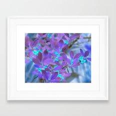 Teal berries with purple leaves Framed Art Print