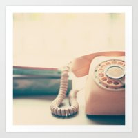 Close up Pink Retro Telephone Art Print