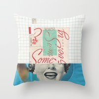 Throw Pillow featuring Ew Some Blue by Fitacola