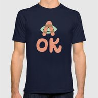 A OK Mens Fitted Tee Navy SMALL