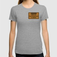 WARNING: ANALOG PHOTOGRAPHER AT WORK, V. 1.0 Womens Fitted Tee Athletic Grey SMALL