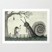 'In The Garden' (Colour) Art Print