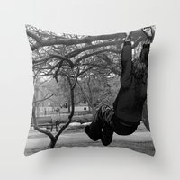 Swinging on Tree Branches Throw Pillow