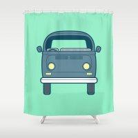#52 Volkswagen Type 2 Bu… Shower Curtain