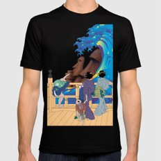 Hokusai People seeing Big Wave & Moai SMALL Black Mens Fitted Tee