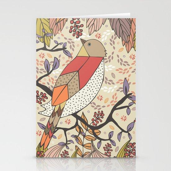 Singing Red Bird Stationery Card