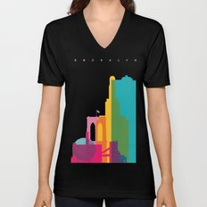 Shapes of Brooklyn. Accurate to scale Unisex V-Neck