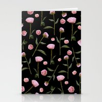 Peonies on Black Stationery Cards