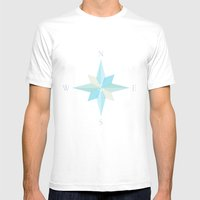 Nautical Compass Mens Fitted Tee White SMALL