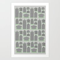 Birdcages (Gray) Art Print