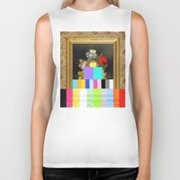 A Painting of Flowers With Color Bars Biker Tank