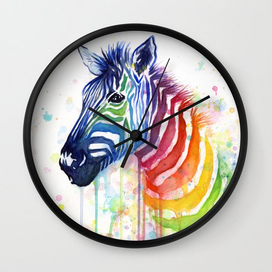 Zebra Watercolor Rainbow Painting | Ode to Fruit Stripes Wall Clock