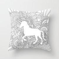 Unicorn Drawing Meditation Throw Pillow