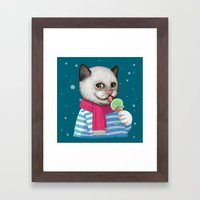 Ice cream & Snow Framed Art Print