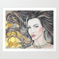 Nikki Benz Acrylic Portrait by AdamValentinoArt Art Print