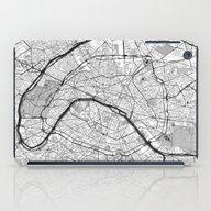 Paris Map Gray iPad Case
