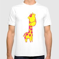 Baby Giraffe Mens Fitted Tee White SMALL