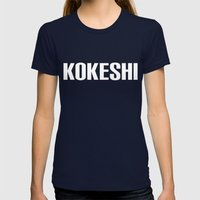 KOKESHI FONT WHITE Womens Fitted Tee Navy SMALL