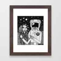 Girl with Ancient Astronaut Framed Art Print