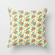 Folk Floral (yellow) Throw Pillow