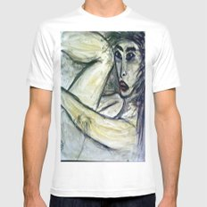NUDE IN DEEP THOUGHTS version 2 SMALL White Mens Fitted Tee