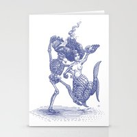 Dancing Mermaid and Skeleton Stationery Cards