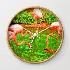 Flaming Flamingo Wall Clock